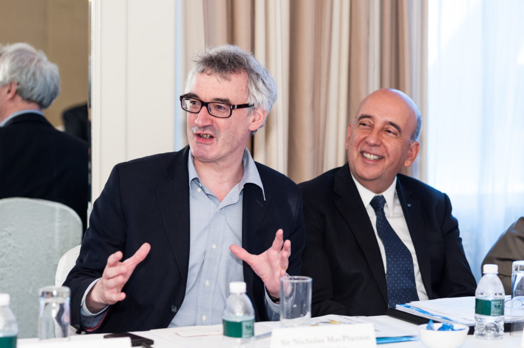 Head of the UK Treasury Sir Nicholas Macpherson (left) and Makhlouf at this year's Global Government Finance Summit