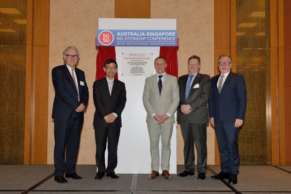 From left: Professor Christopher Findlay (executive dean, Faculty of the Professions, University of Adelaide), Mr Peter Ong (head of civil service, Prime Minister's Office, Singapore), the Hon. Jay Weatherill (premier, South Australia), Professor Warren Bebbington (vice-chancellor and president, University of Adelaide), and Philip Green (Australian high commissioner to Singapore).