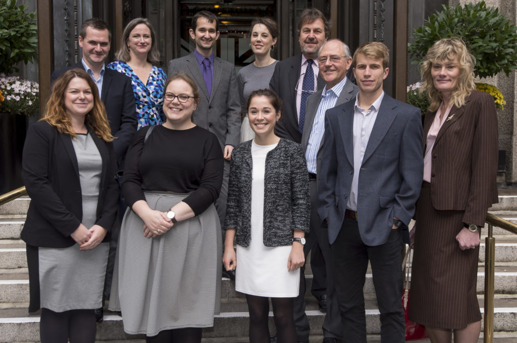 Back row (from L to R): Global Government Forum staff Chris Punch and Melissa Helmer, with civil servants, Bradley Jestico, Chloe Summers, Charles Nuttall, Dr Tony Gradwell; Front row (from L to R): Tammy Gray, Nikita Cannan, Isobel Miller, Alex Lambert, Denise Evans.